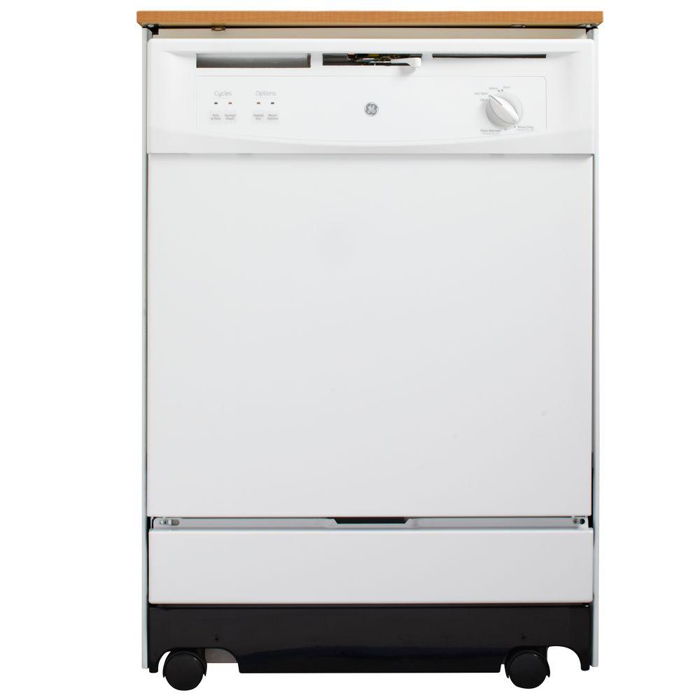 GE Convertible Portable Dishwasher in White, 64 dBA