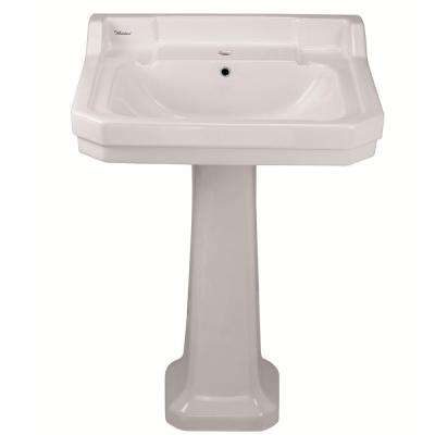 Isabella Collection 23-3/4 in. Lavatory Pedestal Combo Bathroom Sink with Single-Hole Drill in White