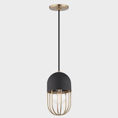 Aiden 1-Light Aged Brass Pendant with Black Accents