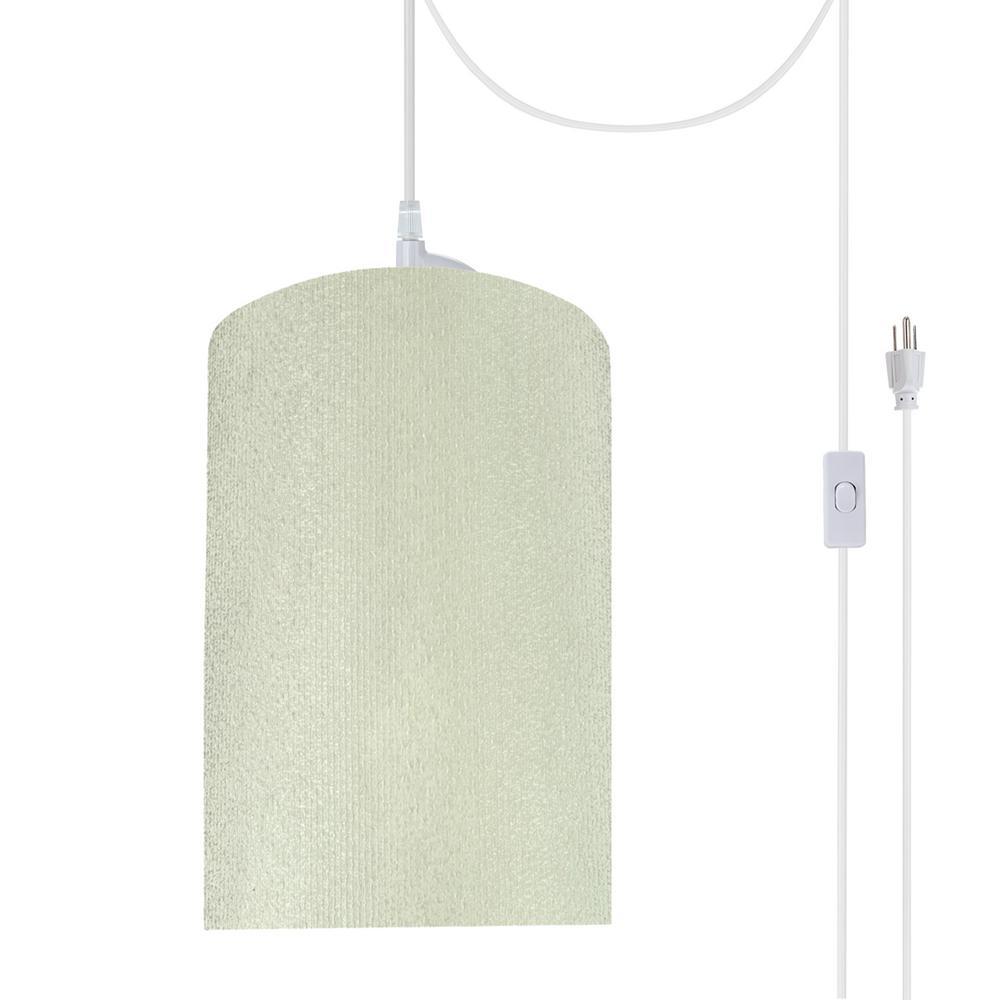 1-Light Portable Hanging Plug-In Pendant White Shade Swag Hooks Ceiling Lamp