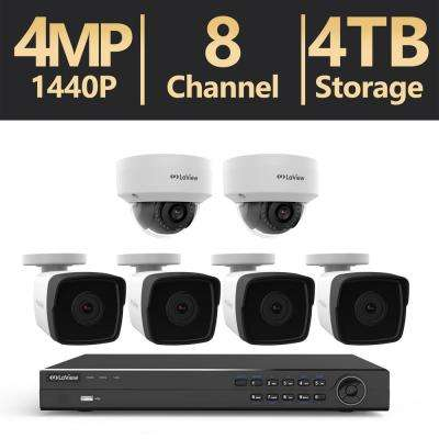 8-Channel 1520p 4MP Full HD 4TB Hard Drive Surveillance System IP NVR System with Dome Cameras NightVision RemoteViewing