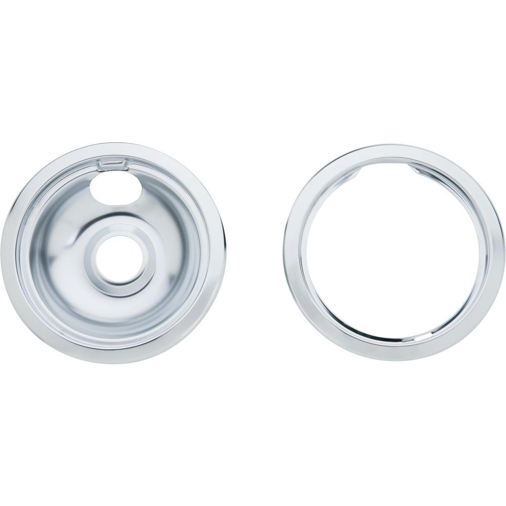 6 in. Chrome Drip Pan with Trim Ring for GE and
