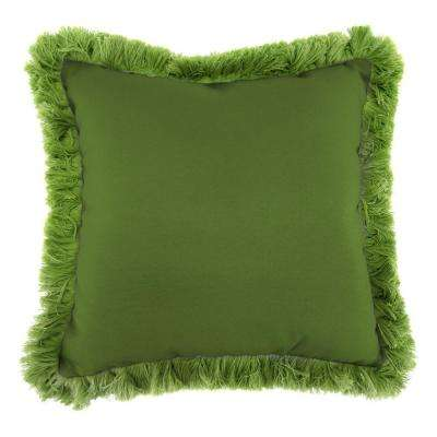 Sunbrella Spectrum Cilantro Square Outdoor Throw Pillow with Gingko Fringe