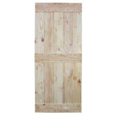 36 in. x 84 in. Unfinished 2-Side Knotty Pine Solid Wood Interior Barn Door Slab