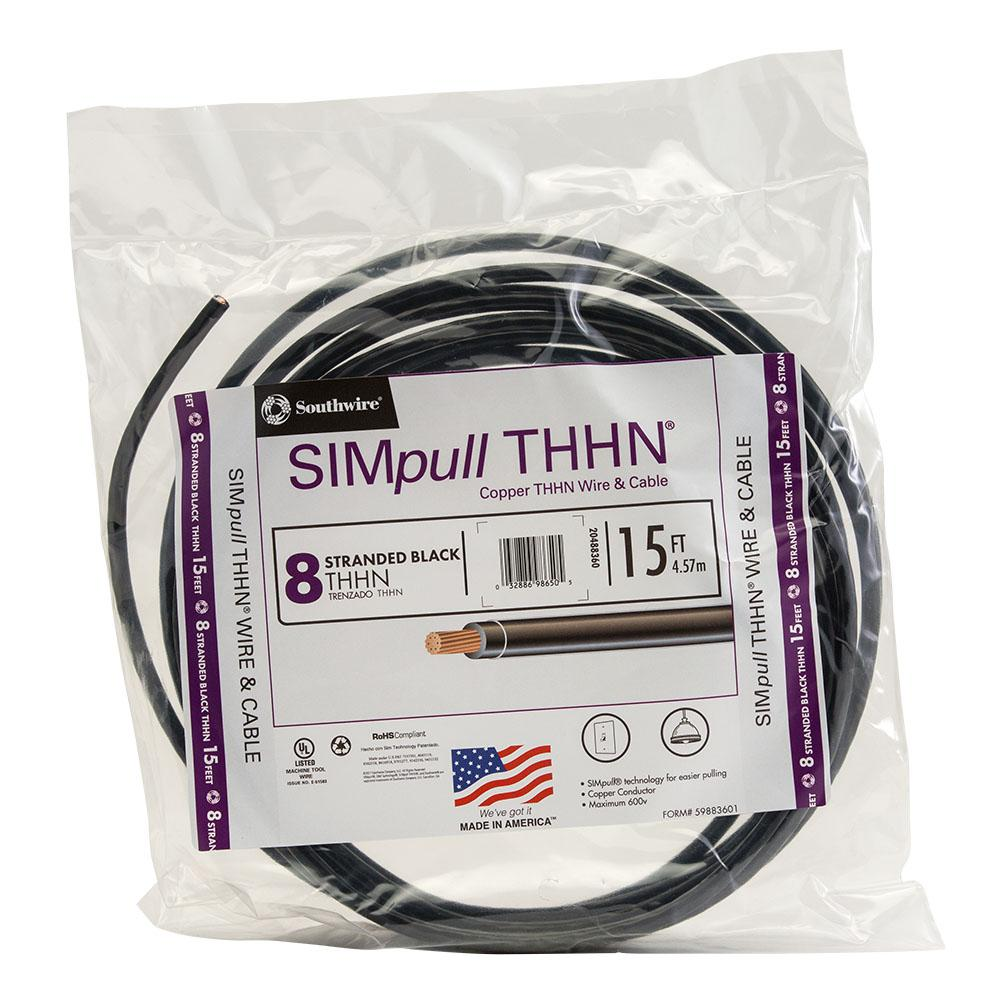 Southwire 15 ft. 8 Black Stranded CU SIMpull THHN Wire
