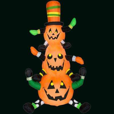 48.03 in. L x 29.92 in. W x 90.16 in. H Inflatable Animated Whimsy Pumpkin Stack