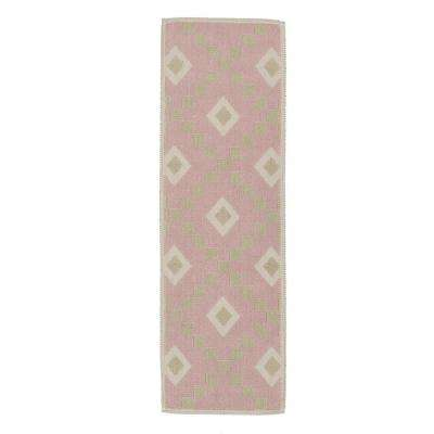 Nature Cotton Kilim Collection Pink Diamond Trellis Design 2 ft. x 5 ft. Runner Rug