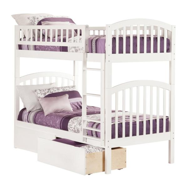 Atlantic Furniture Richland White Twin Over Twin Bunk Bed with 2-Urban Bed Drawers
