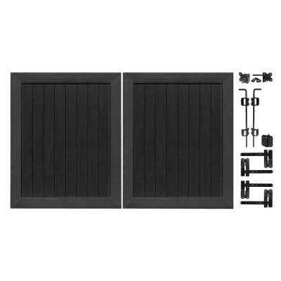 Pro Series 5 ft. W x 6 ft. H Black Vinyl Anaheim Privacy Double Drive Through Fence Gate