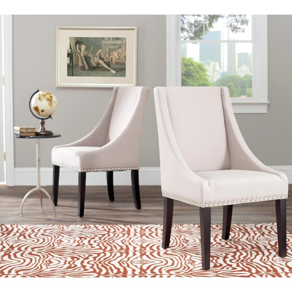 Britannia Taupe/Espresso Linen Side Chair (Set of 2)