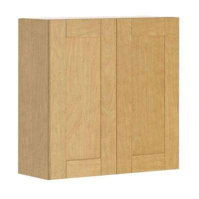 Ready to Assemble 30x30x12.5 in. Milano Wall Cabinet in Maple Melamine and Door in Clear Varnish