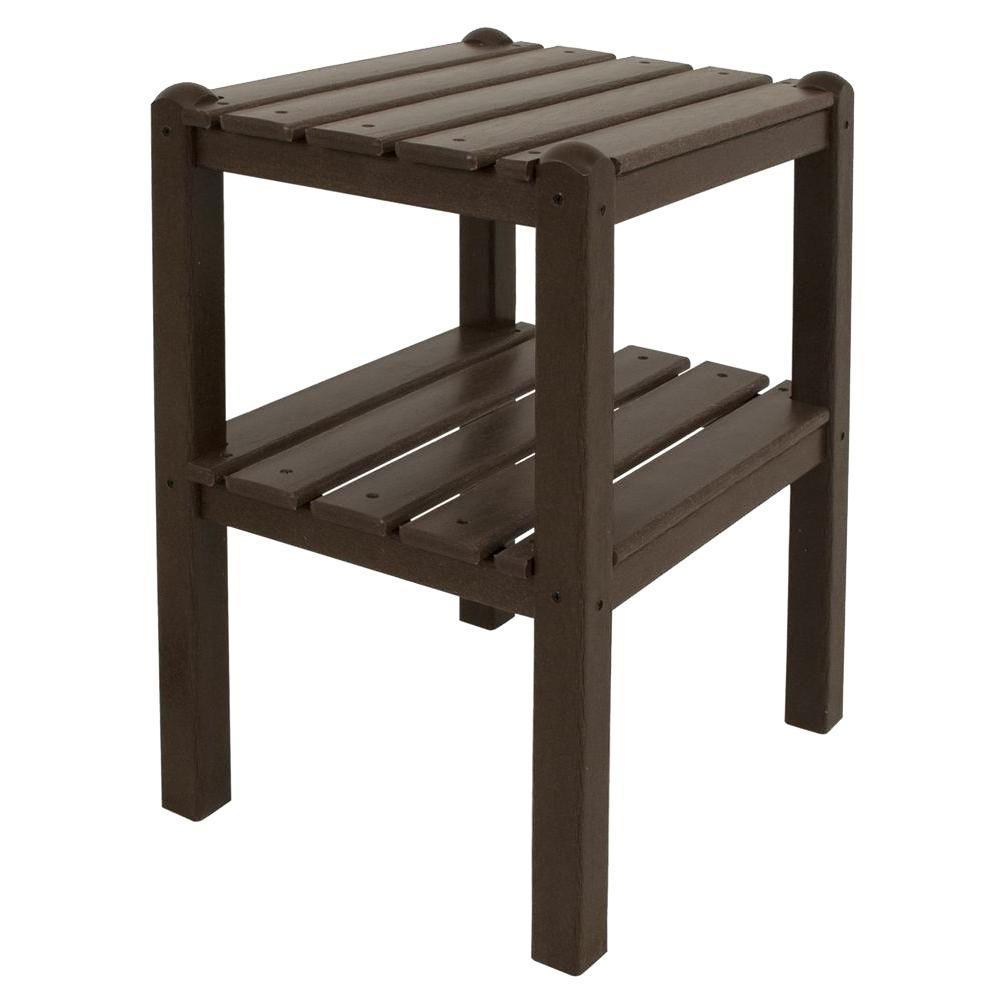 Mahogany 2-Shelf Patio Side Table