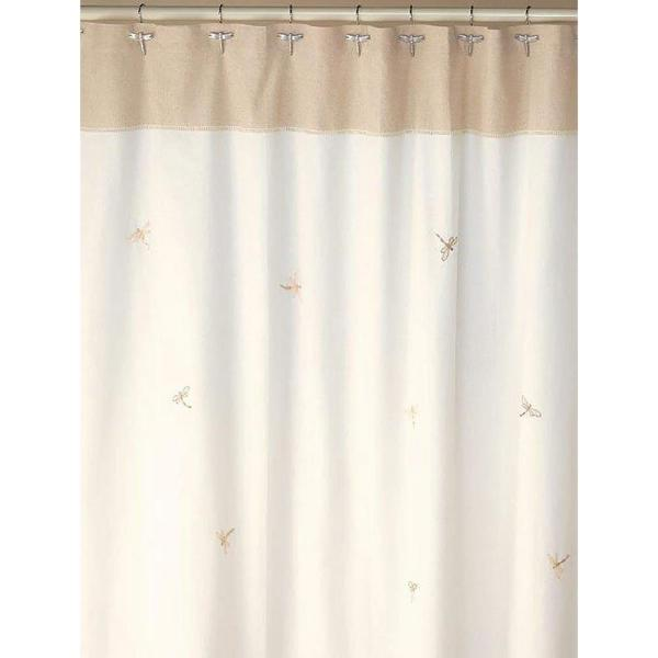 Creative Bath Dragonfly 70 in. x 72 in. 100% Cotton Nature-Themed Shower Curtain in Natural and Tan