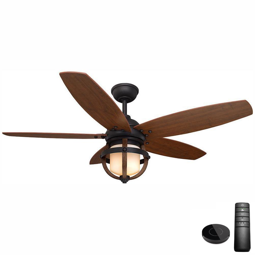 Home Decorators Collection Noah 52 in. LED Forged Iron Ceiling Fan with Light Kit Works with Google Assistant and Alexa