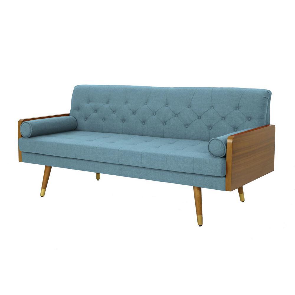 3-Seat Blue Tufted Fabric Sofa