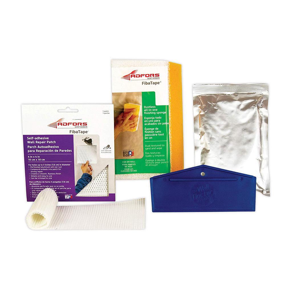 4 in. x 4 in. Self-Adhesive Dustless Wall Repair Kit