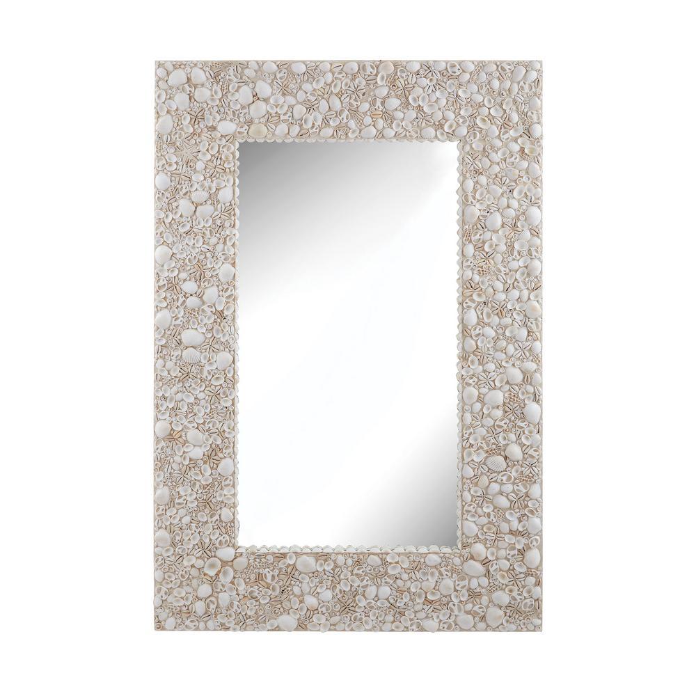 Titan Lighting 48 In X 32 In Rectangular Shell Framed Mirror Tn
