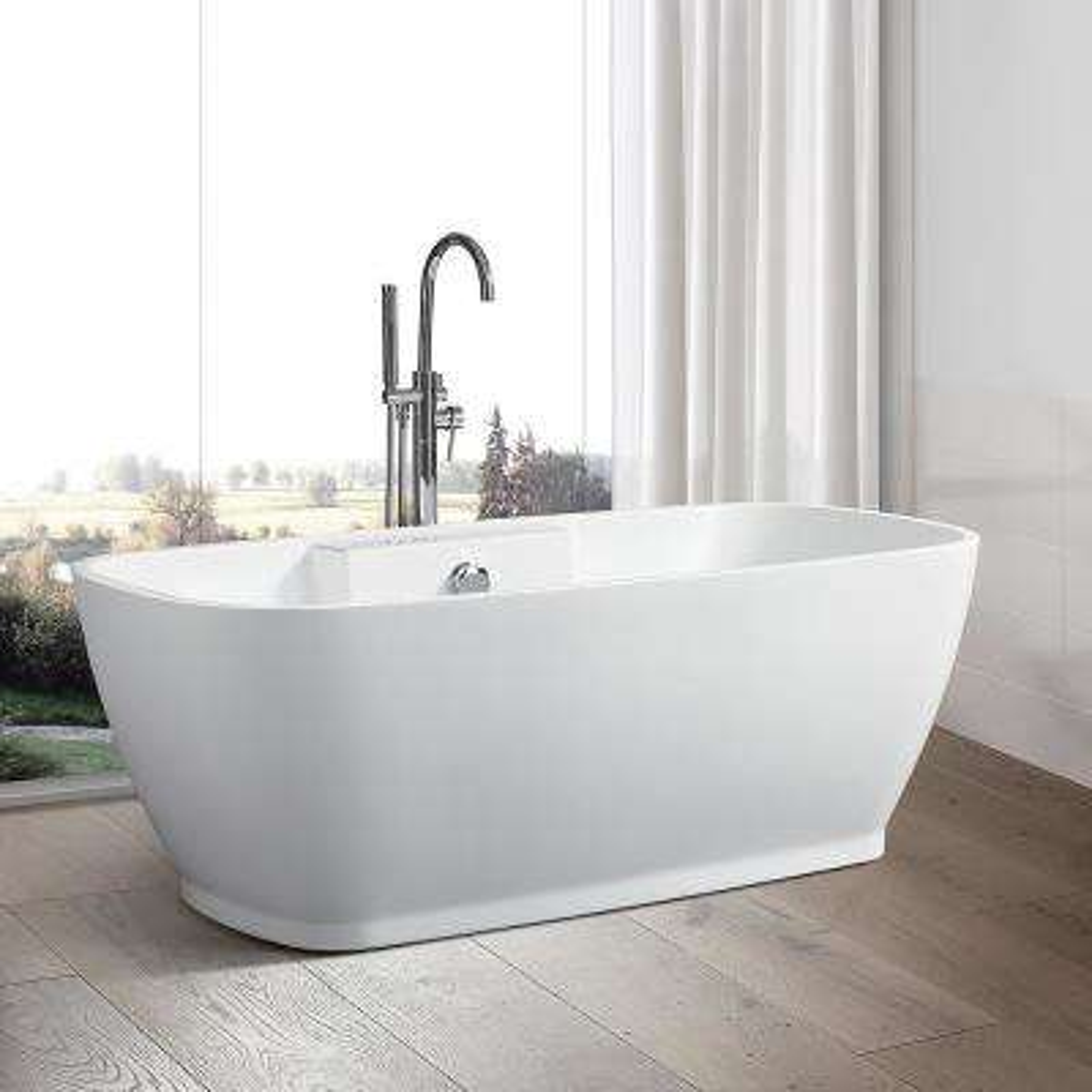 Toulon 59 in. Acrylic Flatbottom Freestanding Bathtub in White