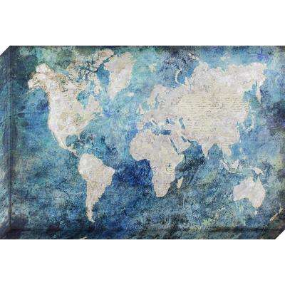 36 in. x 24 in. Silver and Blue Watercolor Map with Silver Foil Accents Stretched Painted Canvas Wall Art