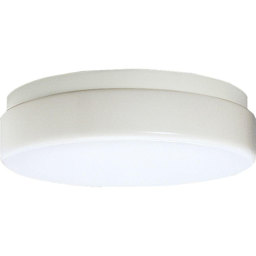 Progress Lighting Hard-Nox Collection White 2-Light Outdoor Flushmount