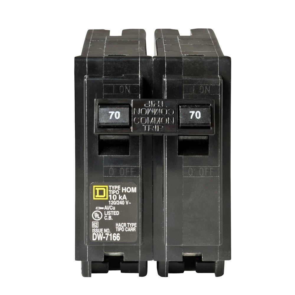 Square D Homeline 30 Amp 2 Pole Circuit Breaker Hom230cp The Home Light Switch Wiring Single Two Switches Depot