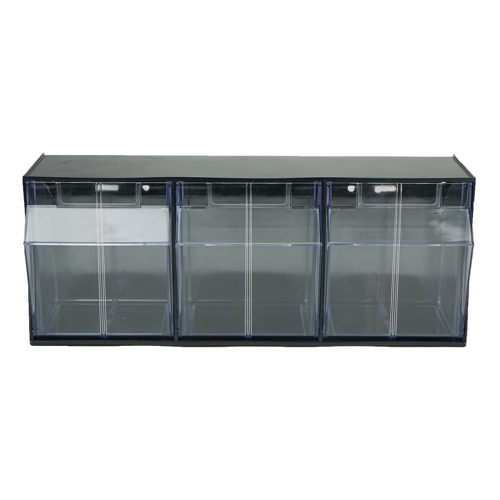 Multi Purpose Storage Drawer with 3-Removable Bins, Black