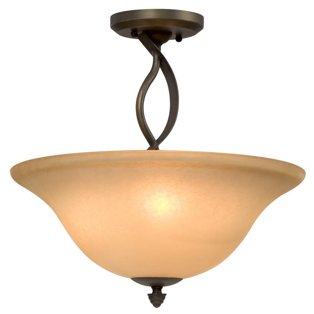 Filament Design Negron 3-Light Oil Rubbed Bronze Incandescent Semi Flush Mount
