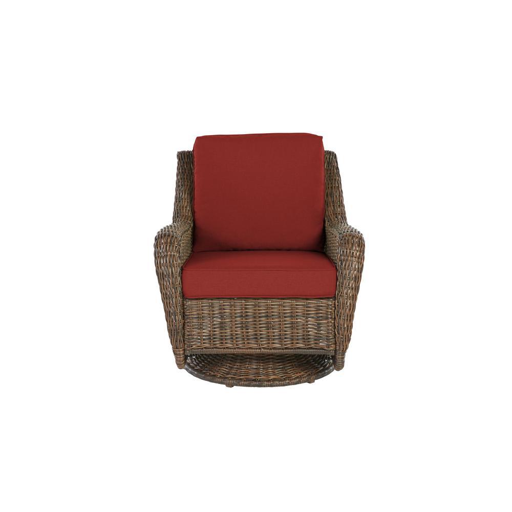 Cambridge Brown Wicker Outdoor Patio Swivel Rocking Chair with Sunbrella Henna Red Cushions