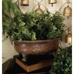 12 in. Old World Distressed Antique Iron Metal Planters (3-Pack)