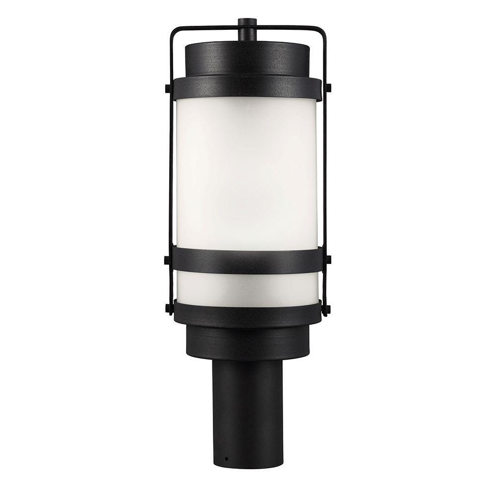 Sea Gull Lighting Bucktown 1-Light Outdoor Black Post Lantern with Satin Etched Glass