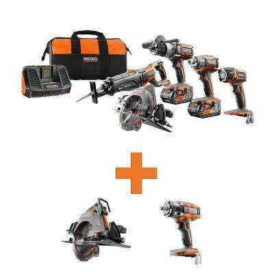 18-Volt Lithium-Ion Cordless 5-Tool Combo w/Bonus OCTANE Brushless Circular Saw & OCTANE Brushless Impact Wrench