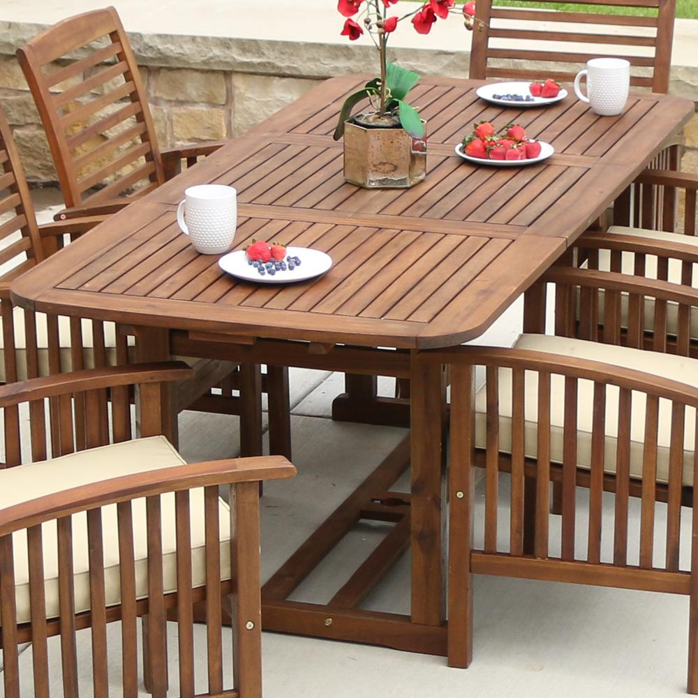 Walker Edison Furniture Company Boardwalk Dark Brown Acacia Wood Extendable  Outdoor Dining Table HDWTEXDB   The Home Depot. Walker Edison Furniture Company Boardwalk Dark Brown Acacia Wood