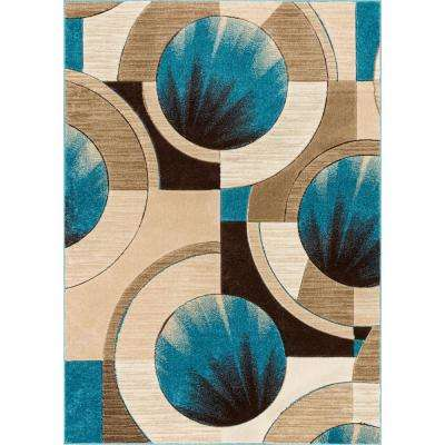 Ruby Yolo 5 ft. x 7 ft. Modern Abstract Geometric Blue Area Rug