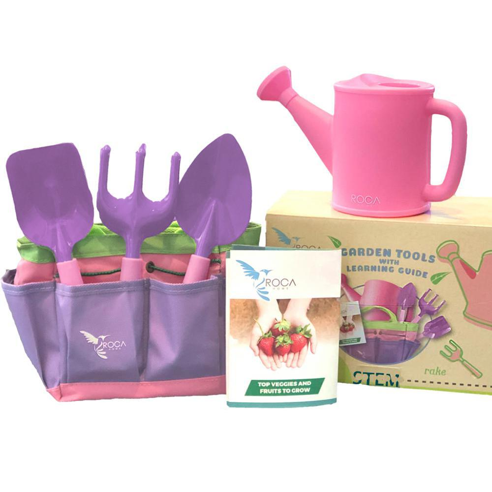Roca Toys Pink Kids Gardening Tool Set With Stem Learning Guide