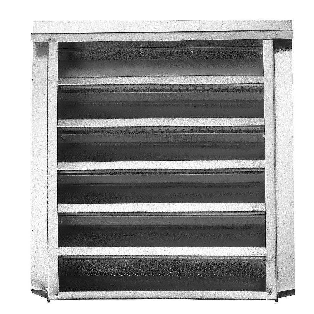 null 14 in. x 12 in. Galvanized Louvered Gable Attic Vent with Stucco Nailing Flange in Mill Finish