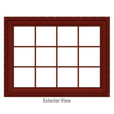 47.5 in. x 35.5 in. V-4500 Series Red Painted Vinyl Awning Window with Colonial Grids/Grilles
