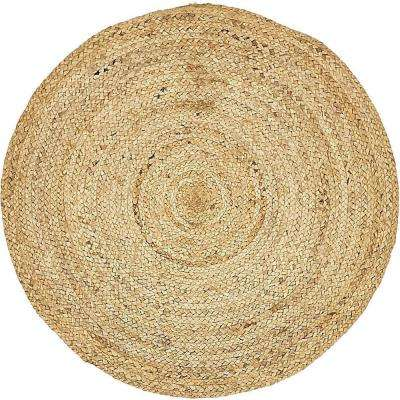 Braided Jute Dhaka Natural 3' 3 x 3' 3 Round Rug