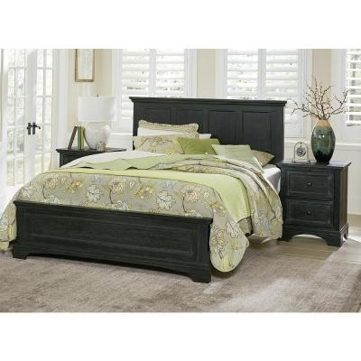 Farmhouse Basics Rustic Black King Bedroom Set with 2 Nightstands and 1 Dresser with Mirror (8-Pieces)