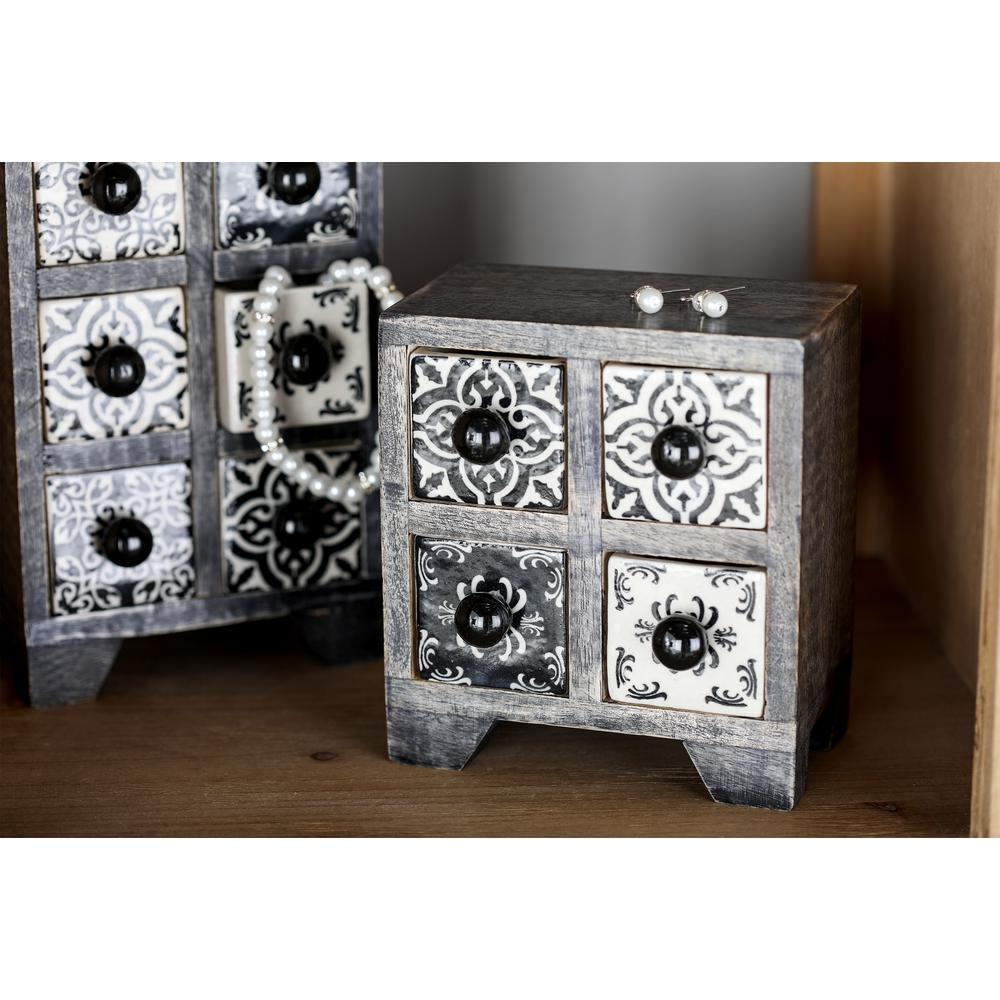 Litton Lane Black Square 4-Drawer Jewelry Chest with White Lattice Design