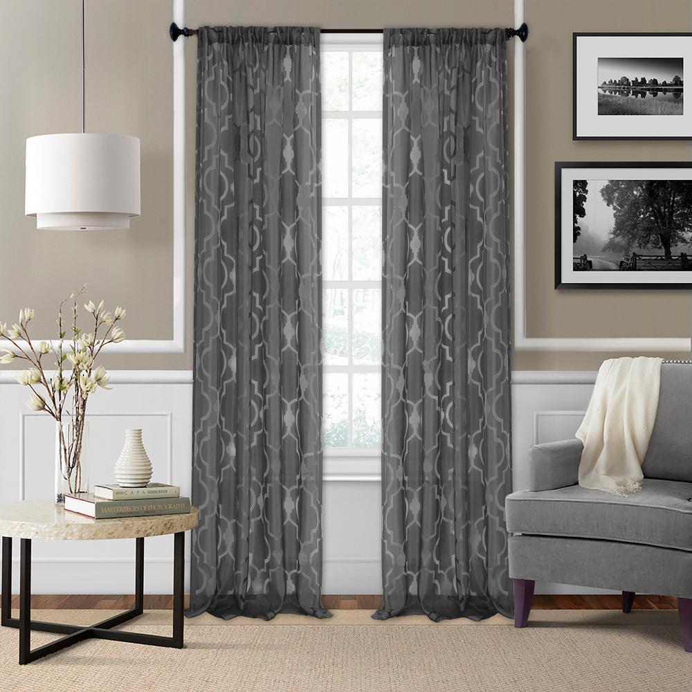 Montego 52 in. W x 95 in. L Ironwork Sheer Window Curtain in Black
