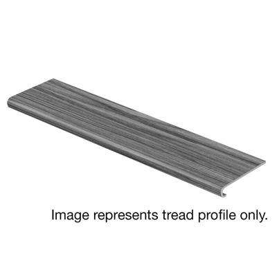 Grey Wood 94 in. Length x 12-1/8 in. Deep x 1-11/16 in. Height Vinyl Overlay to Cover Stairs 1 in. Thick