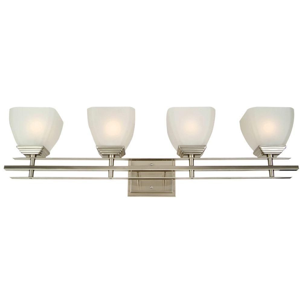 Half Dome 4 Light Satin Nickel Bathroom Vanity Light With White Frosted  Glass Shade