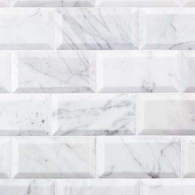 Calacatta Beveled 3 in. x 6 in. x 9mm Polished Marble Subway Tile (32 pieces / 4 sq. ft. / box)