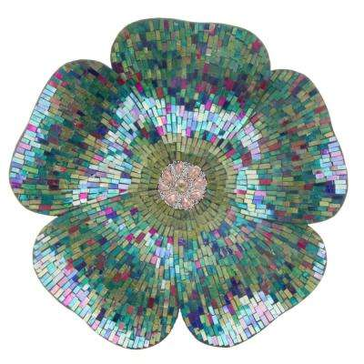 Blue Mosaic Glass Flower Wall Decor