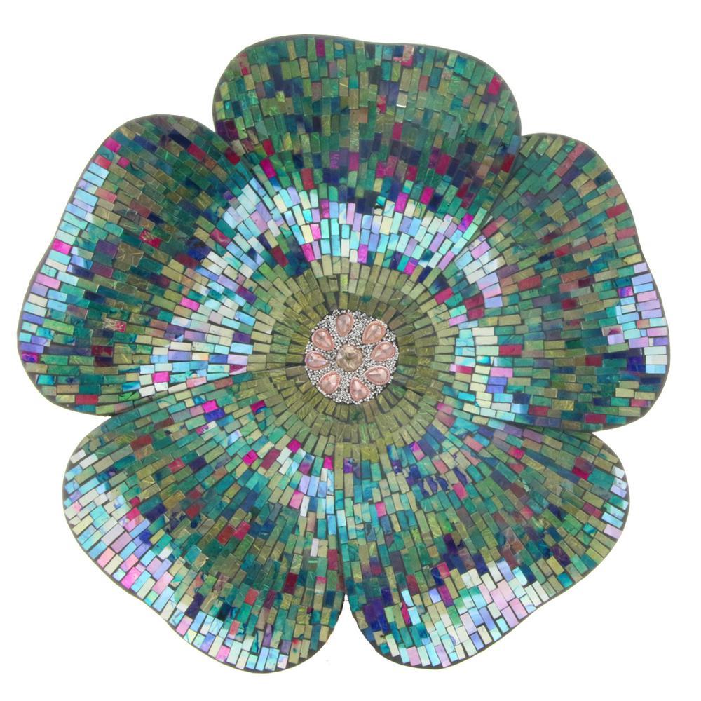 Blue Mosaic Glass Flower Wall Decor