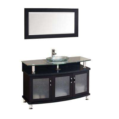 Contento 48 in. Vanity in Espresso with Glass Vanity Top in Espresso with Clear Basin and Mirror