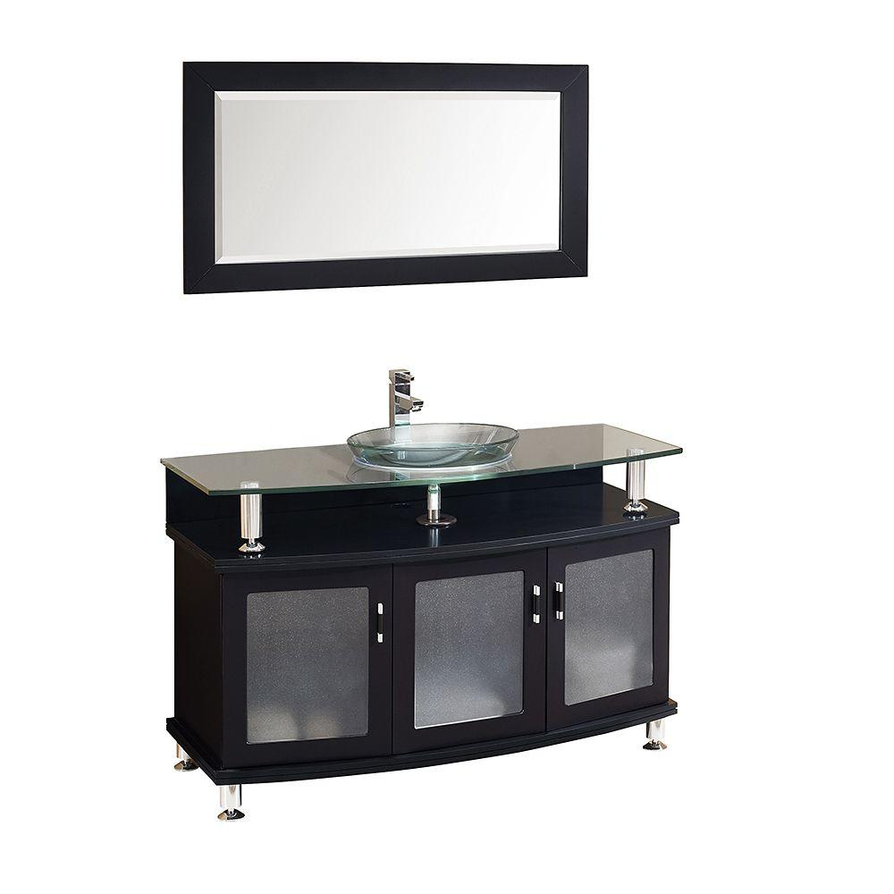 Fresca Contento 48 In Vanity In Espresso With Glass Vanity Top In