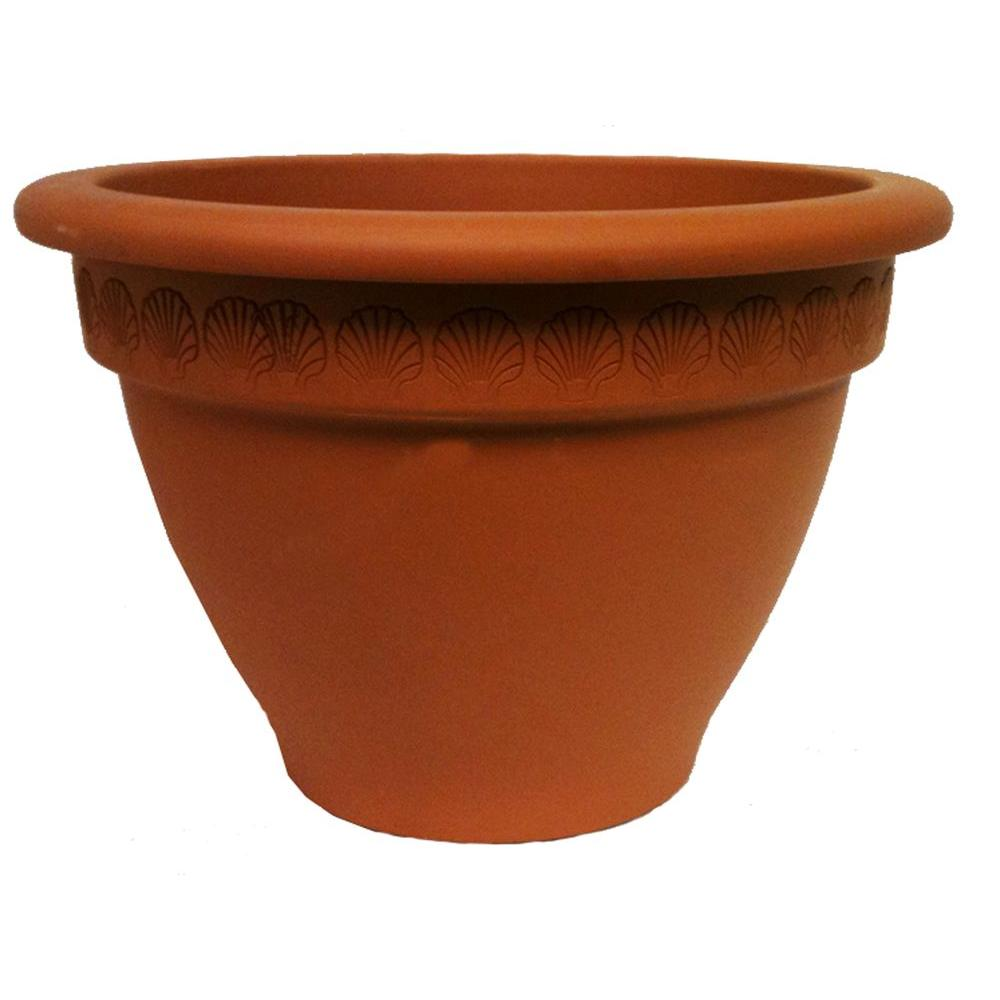 19 in. Terra Cotta Bell Clay Pot with Scallop