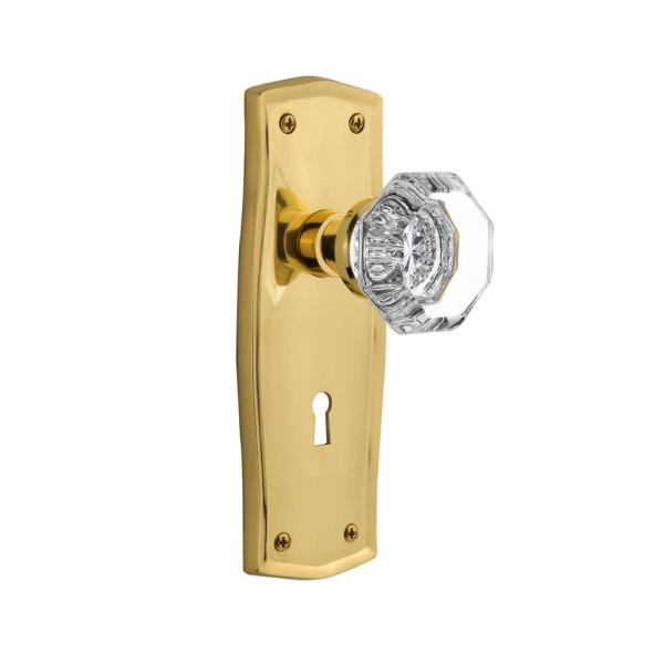 Nostalgic Warehouse Prairie Plate With Keyhole 2 3 8 In Backset Polished Brass Passage Hall Closet New York Door Knob 701117 The Home Depot