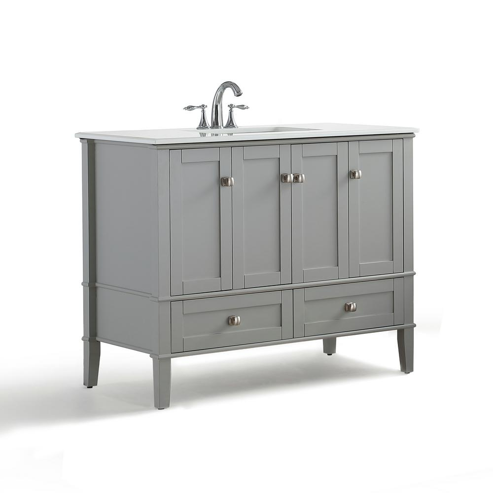 Simpli Home 42 In W X 21 5 In D X 34 7 In H Vanity In Grey With Engineered Quartz Marble